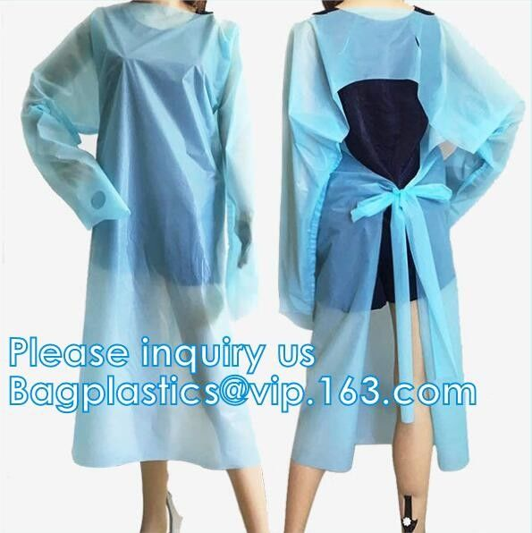 Disposable surgical cpe gown Disposable CPE gown with thumb hook isolation gown disposable pe/cpe surgical blue plastic
